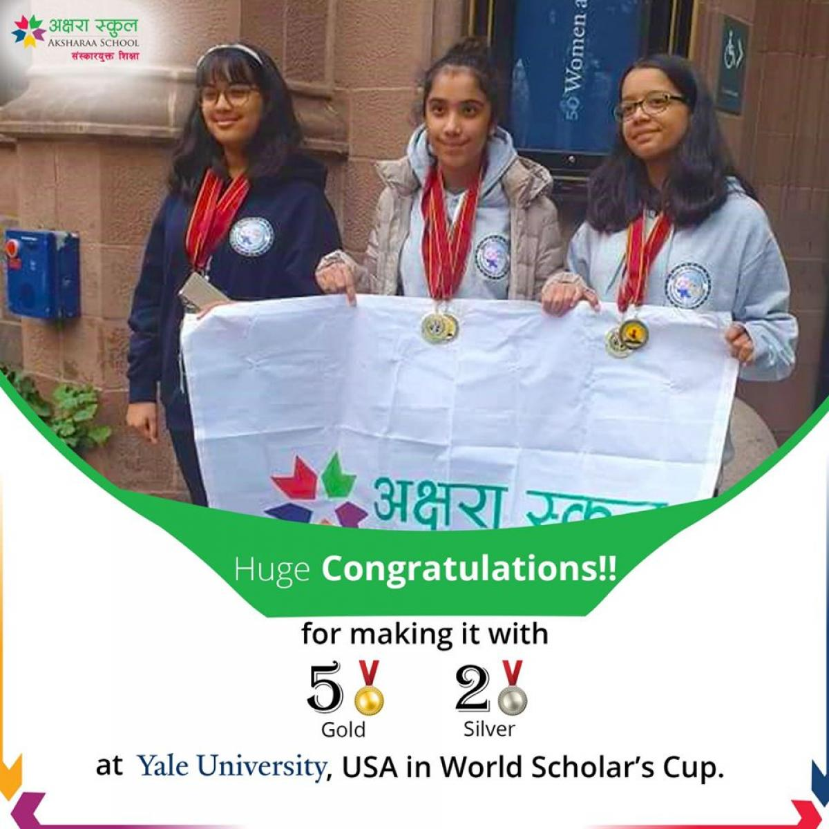 Congratulations for making it with 5 gold & 2 silver at Yale University, the USA in World Scholar's Cup